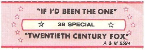38 Special / If I'd Been the One (1983) / A+M 2594 (Jukebox Title Strip)