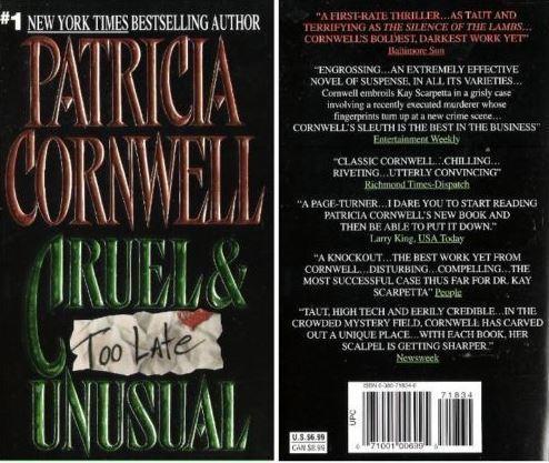 Cornwell, Patricia / Cruel + Unusual (1993) / Harper Collins Books (Paperback)