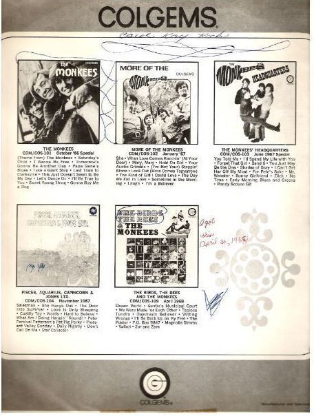 "Colgems / Black and White Pictures of 5 Monkees albums (1968) / Gray-White-Black (Record Company Inner Sleeve, 12"")"