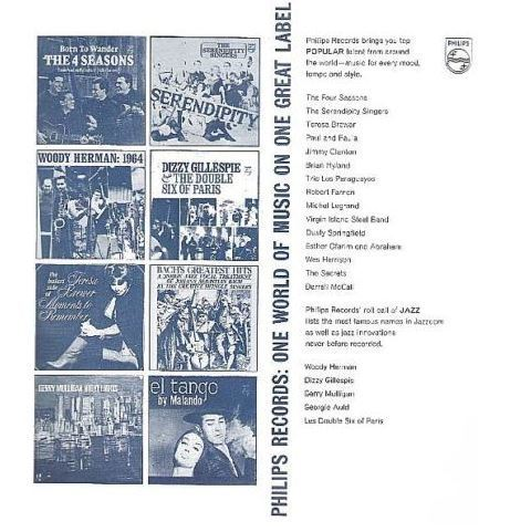 "Philips / Philips Records: One World of Music On One Great Label / White-Dark Blue (Record Company Inner Sleeve, 12"")"