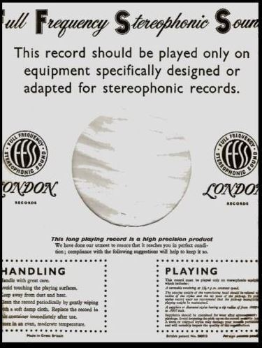 """London / Full Frequency Stereophonic Sound / White-Black (Record Company Inner Sleeve, 12"""")"""