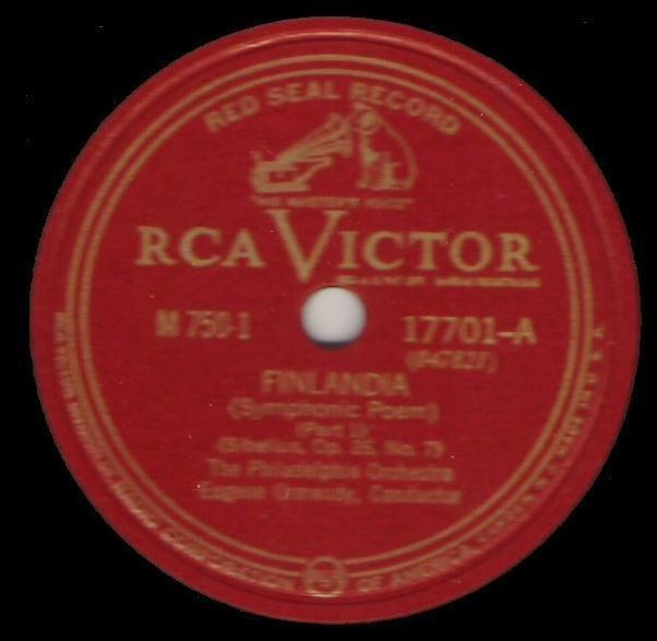 "Ormandy, Eugene (+ Philadelphia Orchestra) / Finlandia (Symphonic Poem) (1941) / RCA Victor Red Seal 17701 (Single, 12"" Shellac)"