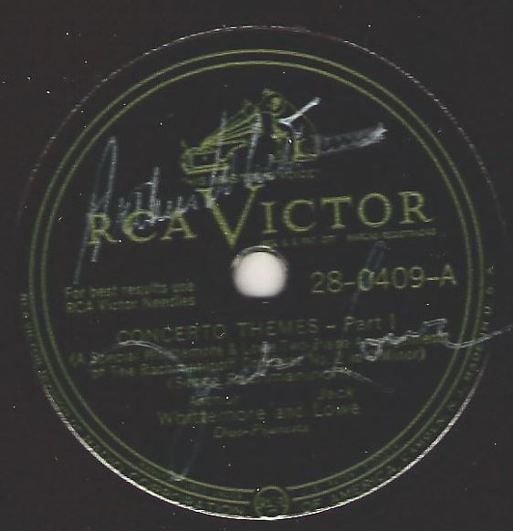 "Whittemore, Arthur (+ Jack Lowe) / Concerto Themes / RCA Victor 28-0409 (Single, 12"" Shellac) / Autographed"