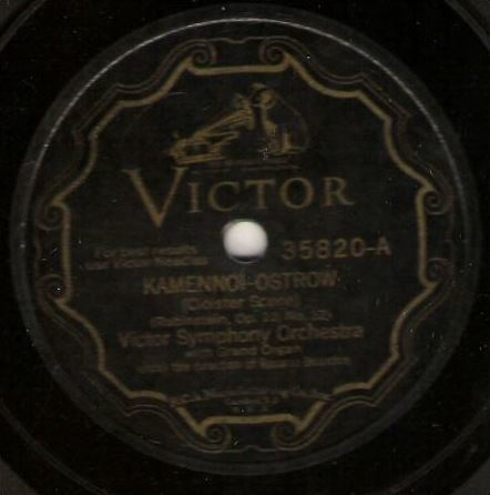 "Victor Symphony Orchestra / Kamennoi-Ostrow (Cloister Scene) (1927) / Victor 35820 (Single, 12"" Shellac)"