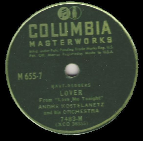 "Kostelanetz, Andre / Lover (1946) / Columbia Masterworks M-655 (Single, 12"" Shellac)"