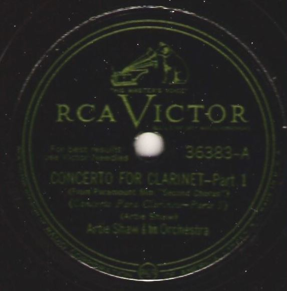 "Shaw, Artie / Concerto For Clarinet (1940) / RCA Victor 36383 (Single, 12"" Shellac)"