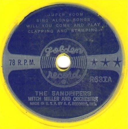 "Sandpipers, The (+ Mitch Miller) / Romper Room Sing Along Songs / Golden R-631 (Single, 6"" Yellow Vinyl)"