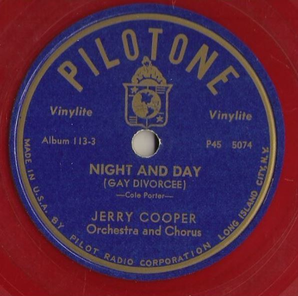"""Cooper, Jerry / Night and Day (Gay Divorcee) (1946) / Pilotone 113 (Single, 10"""" Red Vinylite)"""