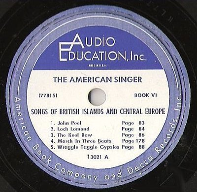 Uncredited Artists / The American Singer (Book VI) - Songs of the British Islands and Central Europe (Album, 10