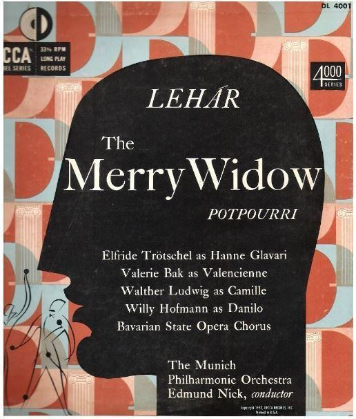 "Nick, Edmund / Lehar: The Merry Widow (1952) / Decca DL-4001 (Album, 10"" Vinyl)"