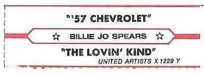 Spears, Billie Jo / '57 Chevrolet (1978) / United Artists X-1229 Y (Jukebox Title Strip)