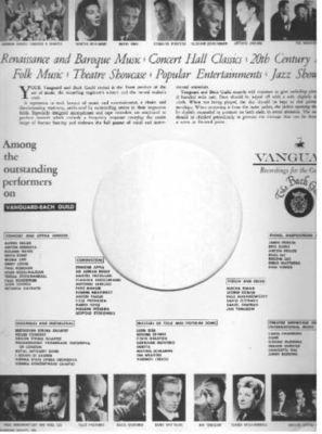Vanguard / Renaissance and Baroque Music... / White-Black (Record Company Inner Sleeve, 12
