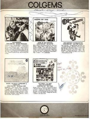 Colgems / Black and White Pictures of 5 Monkees albums (1968) / Gray-White-Black (Record Company Inner Sleeve, 12