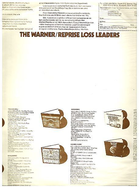"""Warner Bros. / The Warner/Reprise Loss Leaders (1972) / Off-White with Brown Print (Record Company Inner Sleeve, 12"""")"""