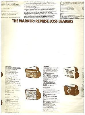 Warner Bros. / The Warner/Reprise Loss Leaders (1972) / Off-White with Brown Print (Record Company Inner Sleeve, 12
