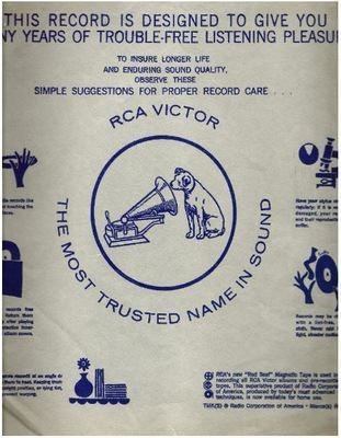 RCA Victor / This Record is Designed to Give You Many Years of Trouble-Free Listening Pleasure / Gray with Blue Print (Record Company Inner Sleeve, 12
