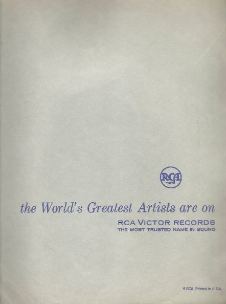 "RCA Victor / the World's Greatest Artists are on - RCA VICTOR RECORDS / Light Gray with Dark Blue Print (Record Company Inner Sleeve, 12"")"