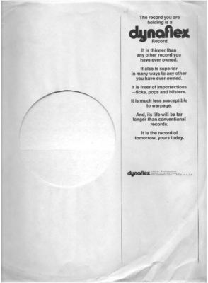 RCA / The record you are holding is a DYNAFLEX Record / White with Black Print (Record Company Inner Sleeve, 12
