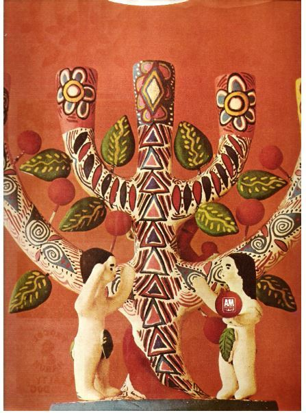 "A + M / Dark Orange background with color photo of ""Tree of Life Candelabra"" art / Dark Orange, Color, Black Print (Record Company Inner Sleeve, 12"")"
