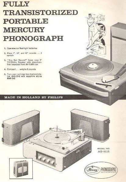"Mercury / Fully transistorized portable Mercury phonograph - Model No. AG-4026 / White, Black, Black + White Pictures (Record Company Inner Sleeve, 12"")"