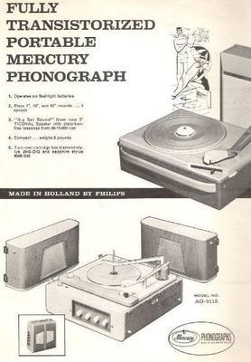 Mercury / Fully transistorized portable Mercury phonograph - Model No. AG-4026 / White, Black, Black + White Pictures (Record Company Inner Sleeve, 12