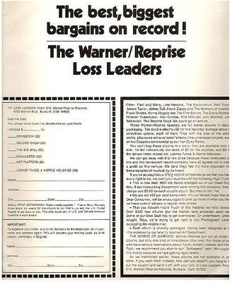 Warner Bros. / The best, biggest bargains on record! (1971) / Off-White with Brown Print (Record Company Inner Sleeve, 12