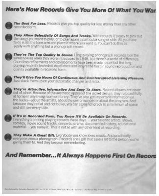 Columbia / Here's How Records Give You More of What You Want / White, Black (Record Company Inner Sleeve, 12