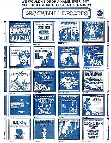 "ABC-Dunhill / We Wouldn't Drop a Name. Ever. But... / White with Blue Print (Record Company Inner Sleeve, 12"")"