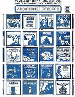 ABC-Dunhill / We Wouldn't Drop a Name. Ever. But... / White with Blue Print (Record Company Inner Sleeve, 12