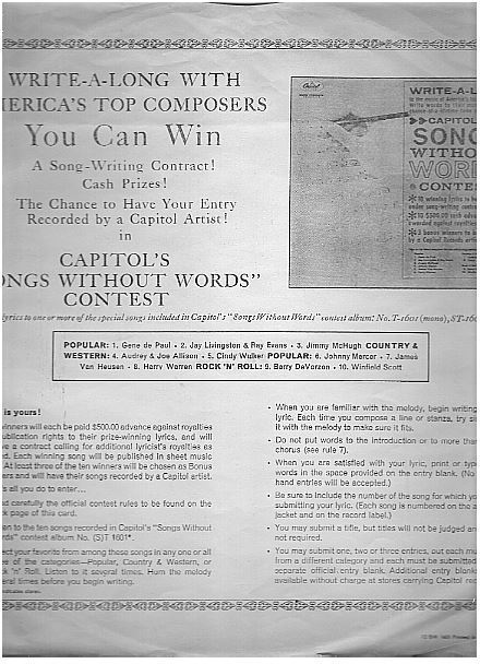 """Capitol / Capitol's Songs Without Words Contest details (1962) / White with Black Print (Record Company Inner Sleeve, 12"""")"""