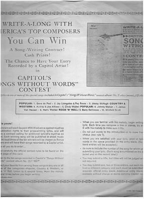 Capitol / Capitol's Songs Without Words Contest details (1962) / White with Black Print (Record Company Inner Sleeve, 12