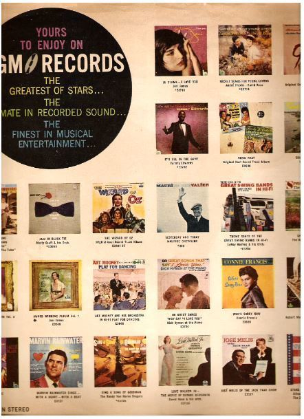 "MGM / 24 Color Pictures of MGM LP's / Yours to Enjoy on MGM Records (Record Company Inner Sleeve, 12"")"