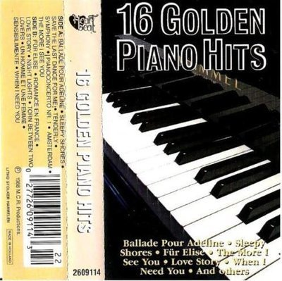 Uncredited Artists / 16 Golden Piano Hits (1988) / Heartbeat 2609114 (Cassette) / Holland