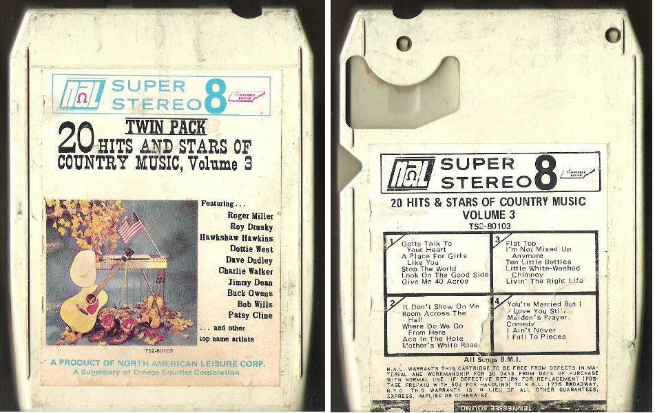 Various Artists / 20 Hits and Stars of Country Music, Volume 3 (1968) / Tennessee Sound TS2-80103 (8-Track Tape)