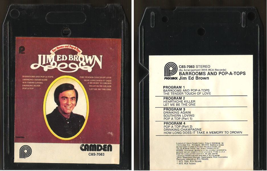 Brown, Jim Ed / Bar-Rooms and Pop-A-Tops (1980) / Pickwick-Camden C8S-7083 (8-Track Tape)
