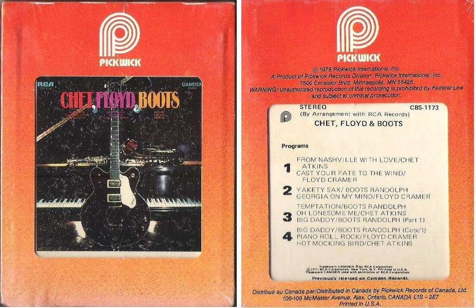 Atkins, Chet (+ Floyd Cramer + Boots Randolph) / Chet, Floyd + Boots (1971) / Pickwick-Camden C8S-1173 (8-Track Tape)