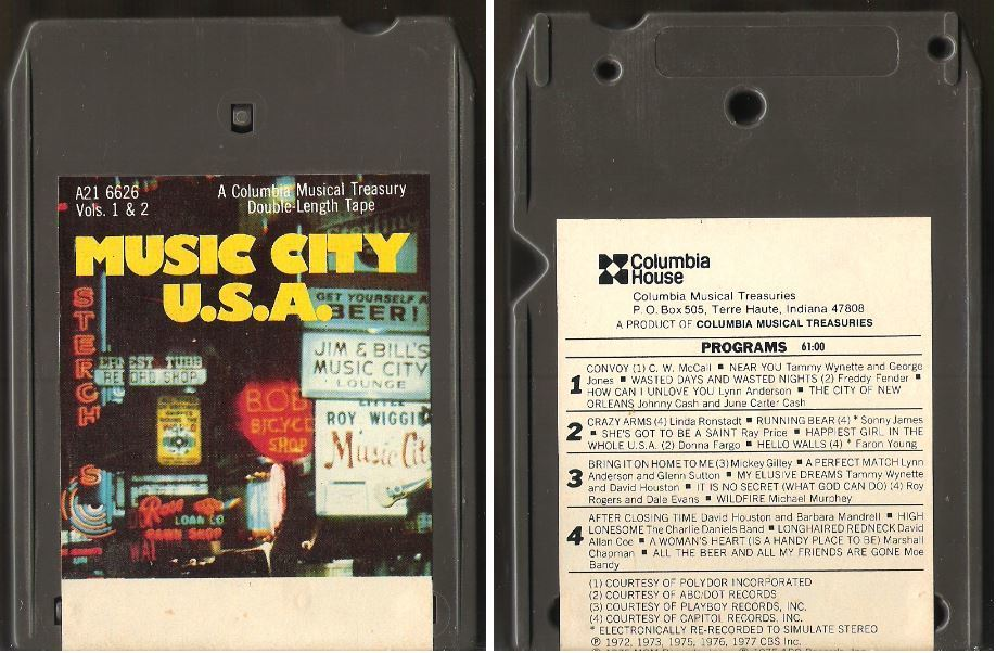 Various Artists / Music City U.S.A. - Vols. 1 + 2 (1977) / Columbia House A21-6626 (8-Track Tape)