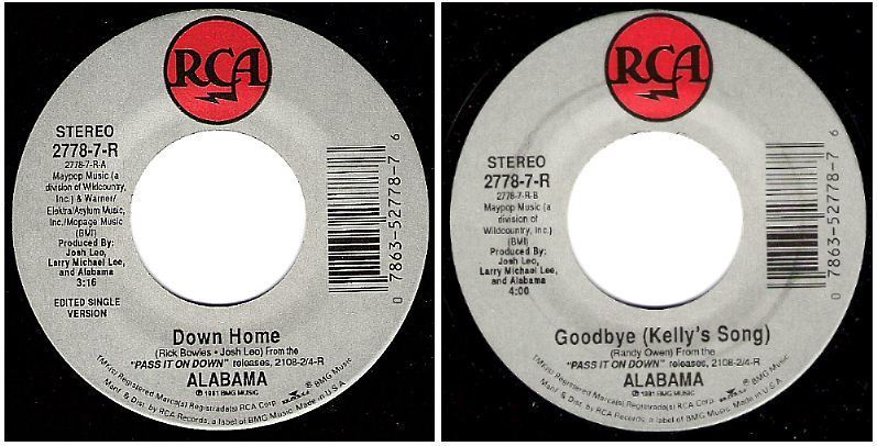 "Alabama / Down Home (1991) / RCA 2778-7-R (Single, 7"" Vinyl)"