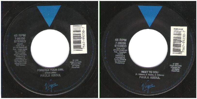 """Abdul, Paula / Forever Your Girl (1988) / Virgin 7-99230 (Single, 7"""" Vinyl)"""