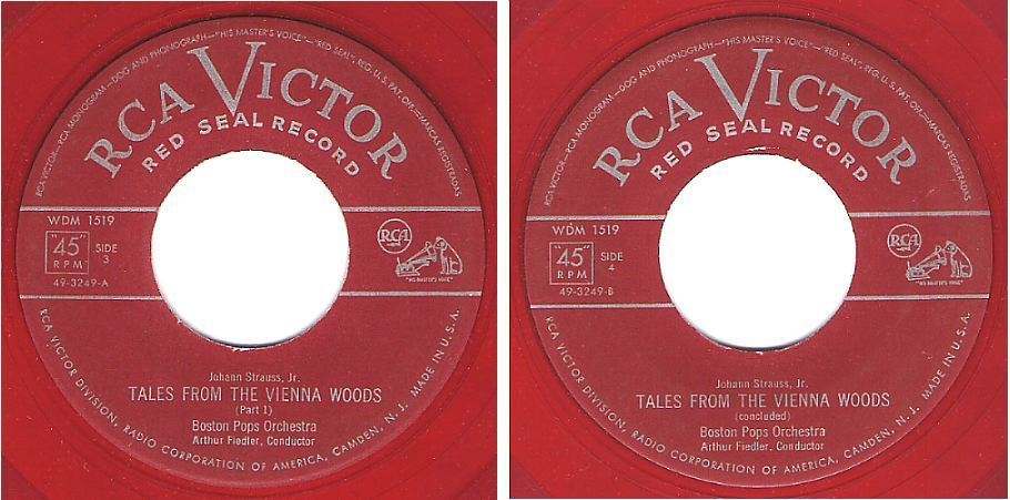"Boston Pops Orchestra (+ Arthur Fiedler) / Tales From the Vienna Woods / RCA Victor (Red Seal) 49-3249 (Single, 7"" Red Vinyl)"
