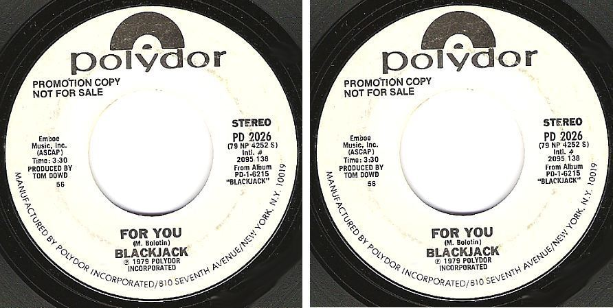 """Blackjack / For You (1979) / Polydor PD-2026 (Single, 7"""" Vinyl) / Promo"""