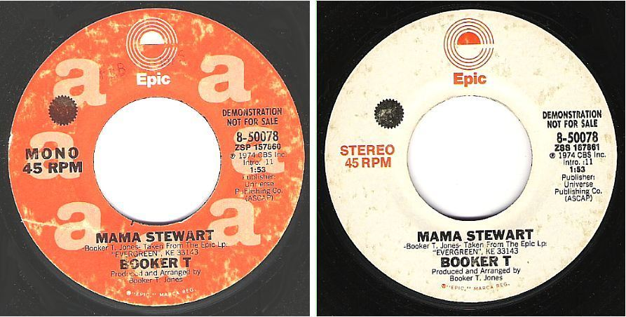"Booker T / Mama Stewart (1974) / Epic 8-50078 (Single, 7"" Vinyl) / Promo"