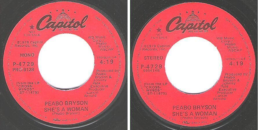 "Bryson, Peabo / She's a Woman (1978) / Capitol P-4729 (Single, 7"" Vinyl) / Promo"