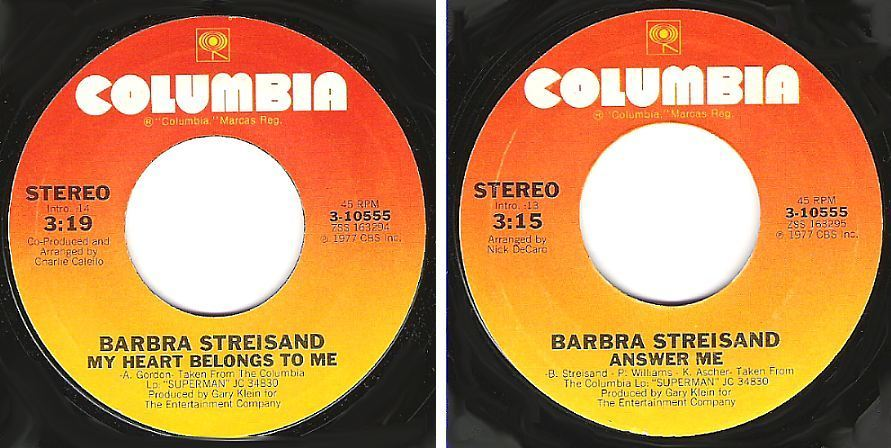 "Streisand, Barbra / My Heart Belongs To Me (1977) / Columbia 3-10555 (Single, 7"" Vinyl)"