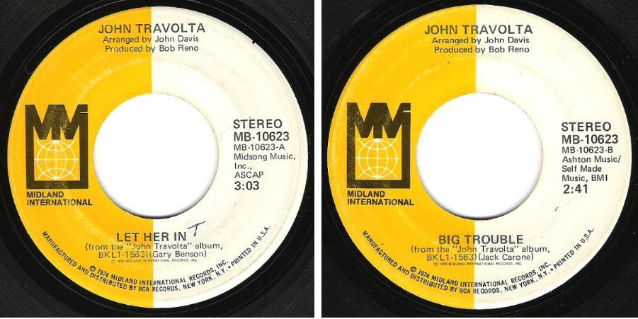 "Travolta, John / Let Her In (1976) / Midland International MB-10623 (Single, 7"" Vinyl)"