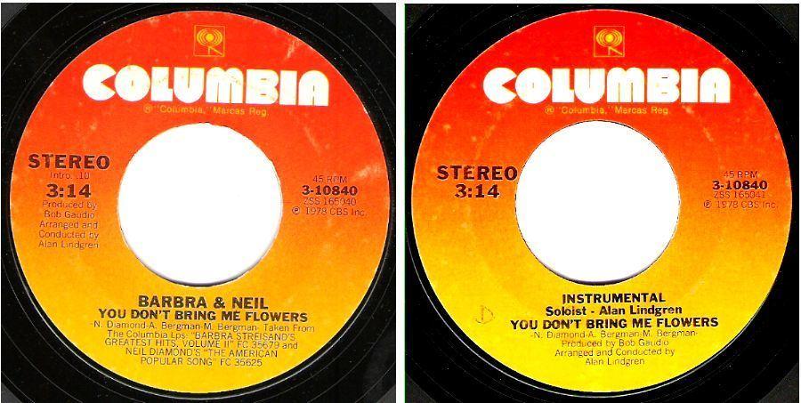 "Streisand, Barbra (+ Neil Diamond) / You Don't Bring Me Flowers (1978) / Columbia 3-10840 (Single, 7"" Vinyl)"