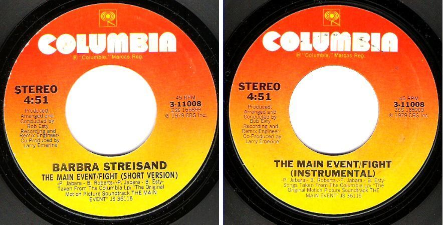"Streisand, Barbra / The Main Event - Fight (1979) / Columbia 3-11008 (Single, 7"" Vinyl)"