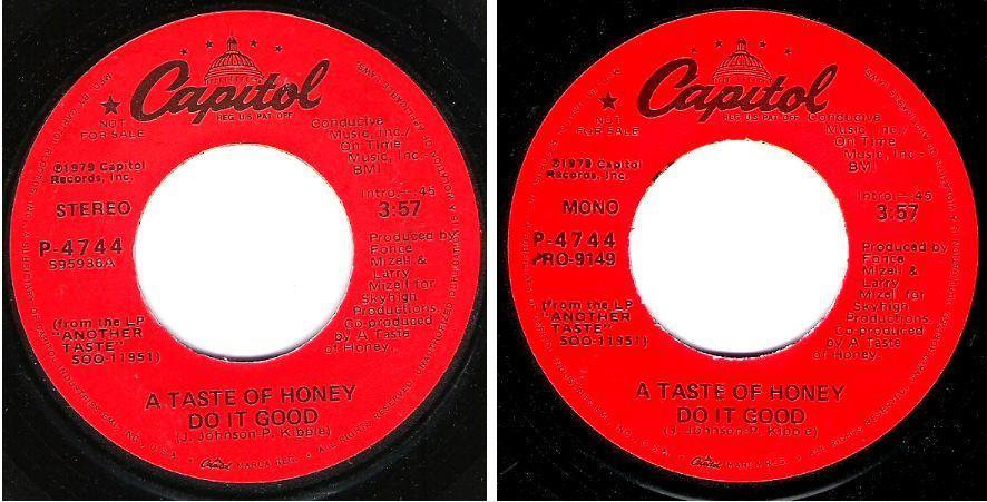"Taste of Honey, A / Do It Good (1979) / Capitol P-4744 (Single, 7"" Vinyl) / Promo"