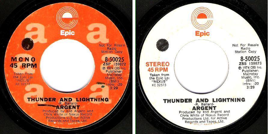 "Argent / Thunder and Lightning (1974) / Epic 8-50025 (Single, 7"" Vinyl) / Promo"