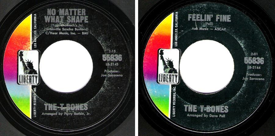 """T-Bones, The / No Matter What Shape (Your Stomach's In) (1965) / Liberty 55836 (Single, 7"""" Vinyl)"""
